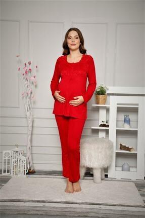 ALİMER Kadın Kırmızı Düğmeli Ve Bel Ayarlı Hamile Pijama Takımı 2487 2