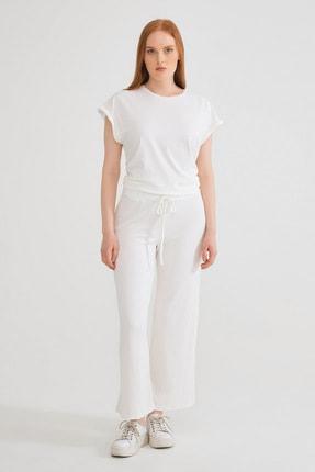 Kadın Beyaz Beli Lastikli Pantolon resmi