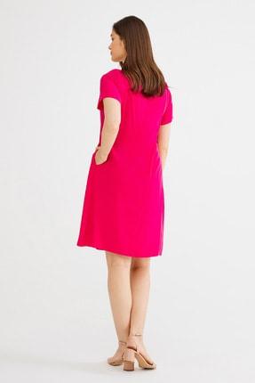 Love My Body Kadın Fusya Kare Yaka Bağcıklı Elbise 3