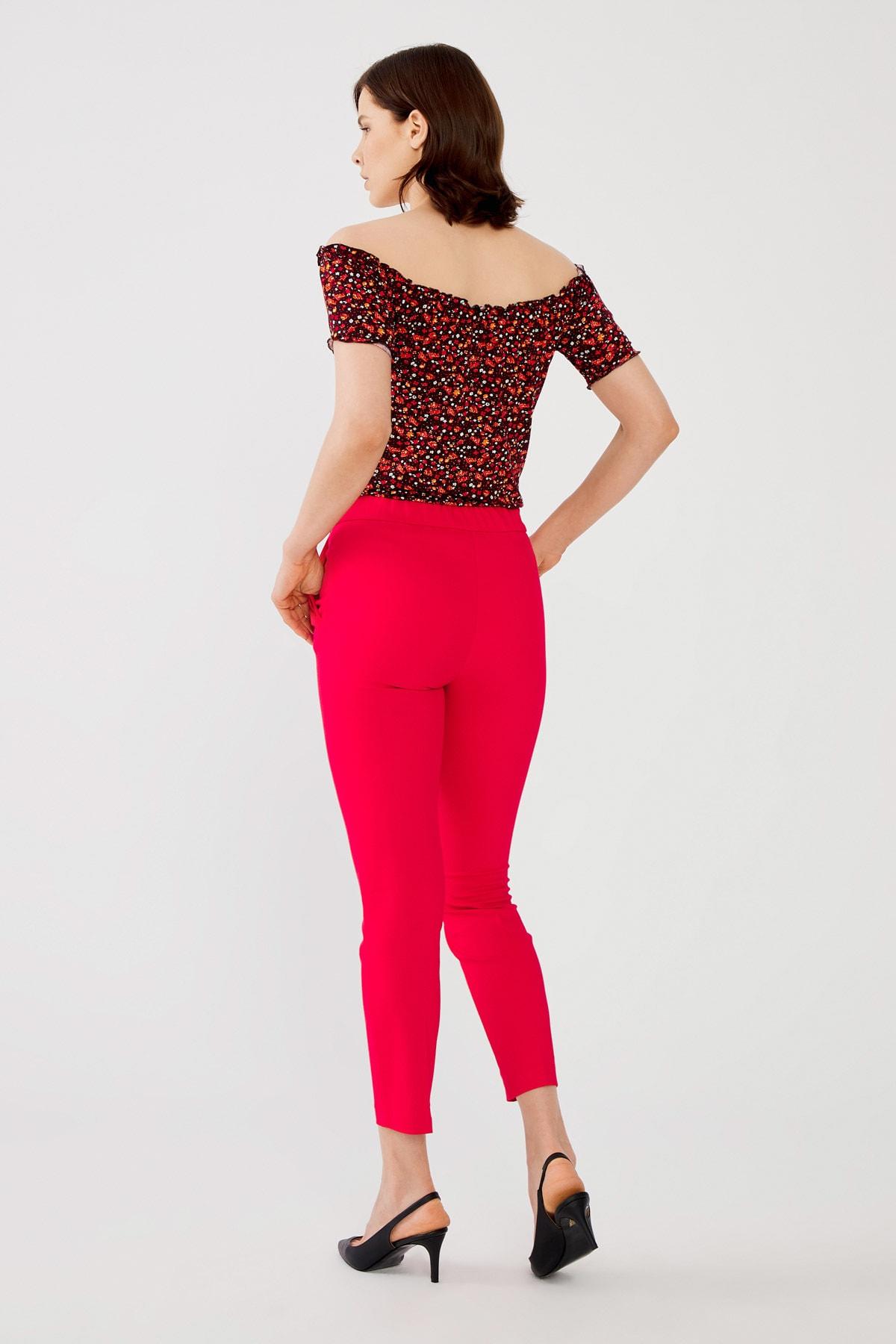 Kadın Kirmizi Beli Lastikli Pantolon