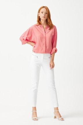 Kadın Beyaz Metal Fermuarlı Pantolon resmi