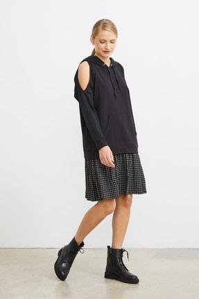 Love My Body Kadın Siyah Omuzları Yırtmaçlı Sweat Elbise 1