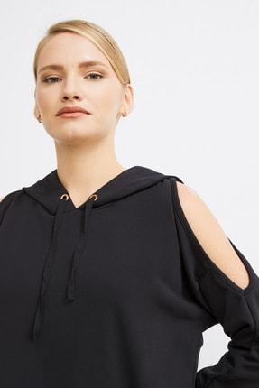 Love My Body Kadın Siyah Omuzları Yırtmaçlı Sweat Elbise 2
