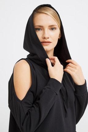 Love My Body Kadın Siyah Omuzları Yırtmaçlı Sweat Elbise 3