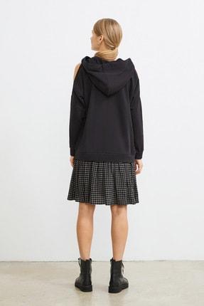 Love My Body Kadın Siyah Omuzları Yırtmaçlı Sweat Elbise 4