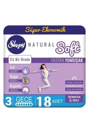 Sleepy Natural Soft Ekstra Yumuşak Gece(18 Ped) 0