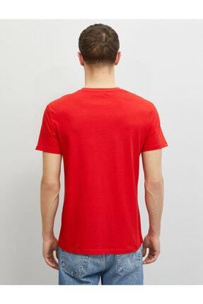 Koton Erkek Kırmızı Pamuklu Bisiklet Yaka Yazı Baskılı Kısa Kollu T-Shirt 3