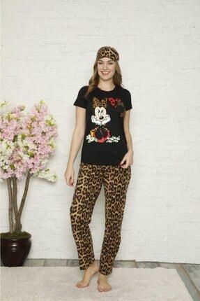 Kadın Siyah Leopar Desenli Kısa Kollu Pijama Takımı Leopar siyah pijama
