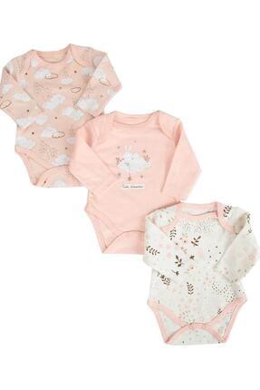 Necix's Somon Kız Bebek Bulutlu Çiçekli 3'lü Bebek Body & Zıbın 0