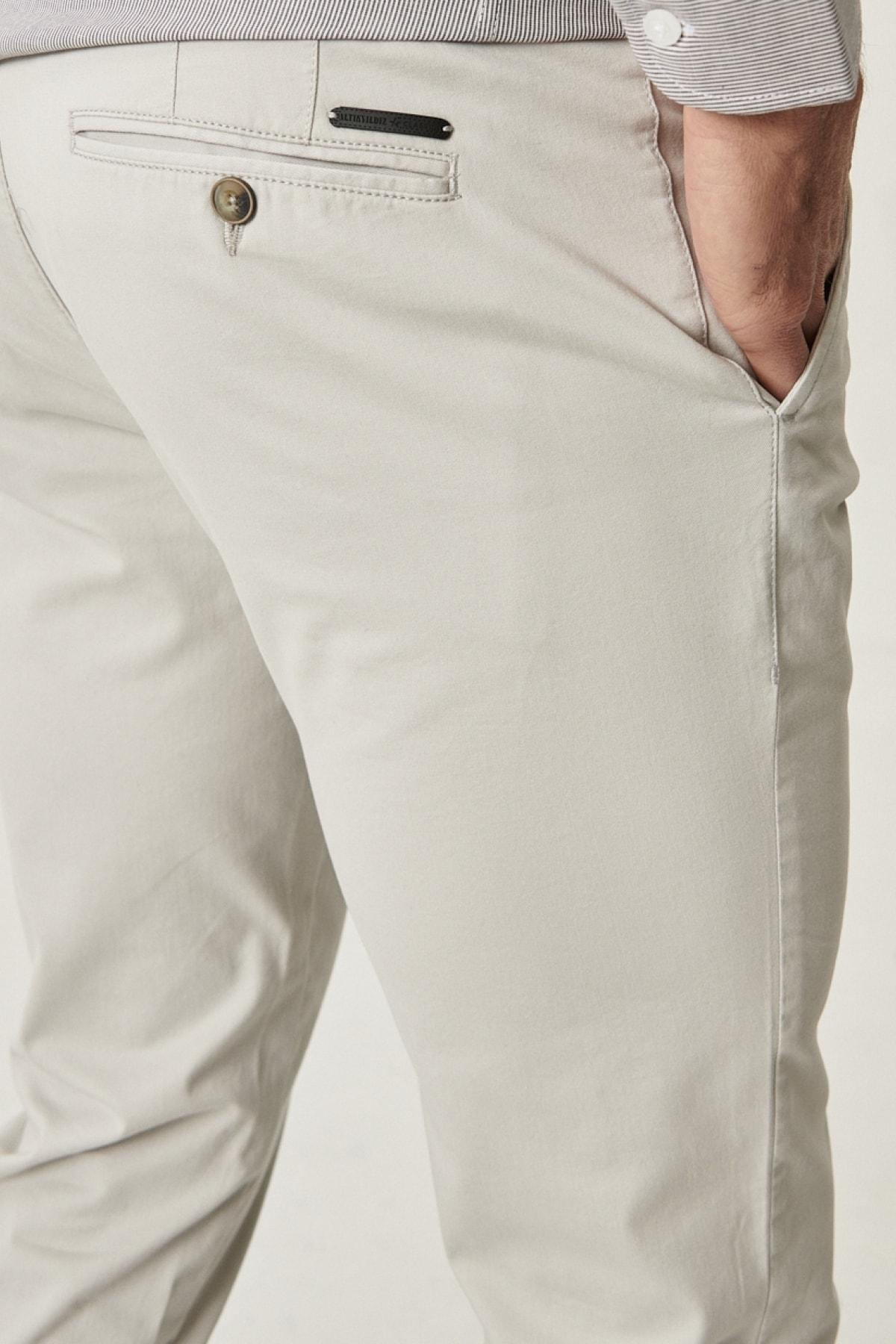 Altınyıldız Classics Erkek Açık Gri Slim Fit Dar Kesim Yan Cep Casual Pantolon