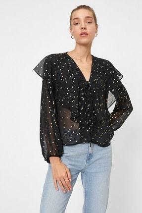 Koton Kadın Siyah Renkli  Puantiyeli Bluz 0YAK68964PW 0