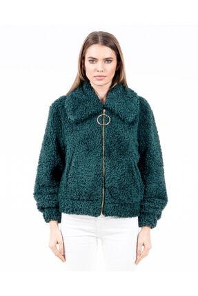 JAHR MARC Fermuarlı Yeşil Peluş Kadın Ceket 0