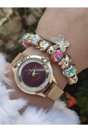 Kadın Altın Saat Kombini AW58