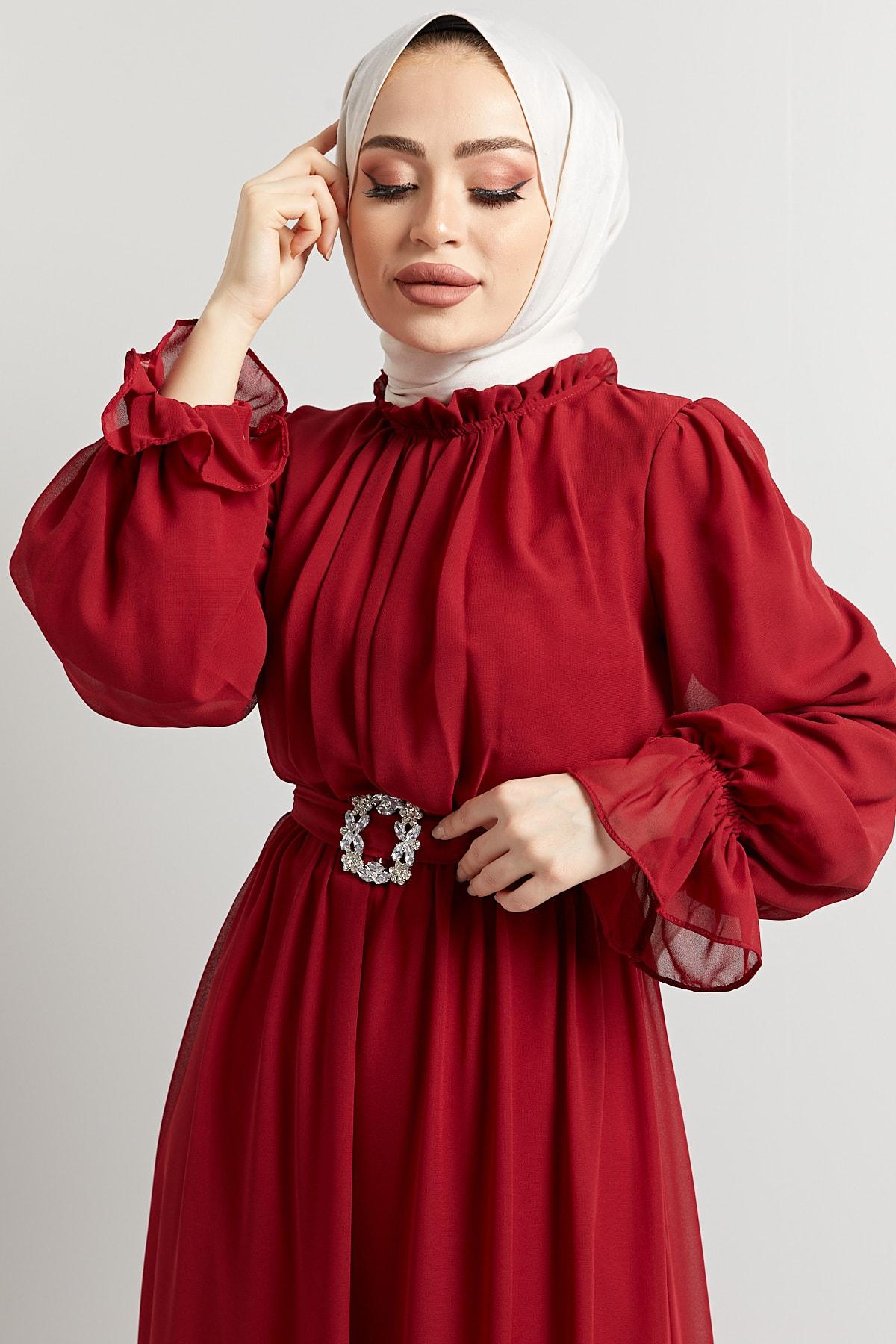 Kadın Komple Astarlı Çıkarıp Takılabilen Seyyar Taş Kemerli Abiye Elbise