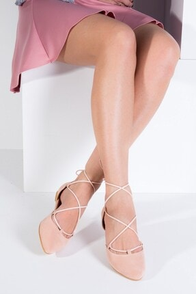 Fox Shoes Pudra Süet Ipli Kadın Babet B726047202 0