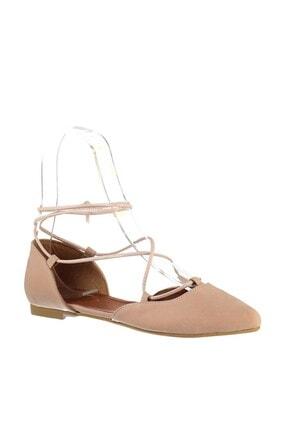 Fox Shoes Pudra Süet Ipli Kadın Babet B726047202 3