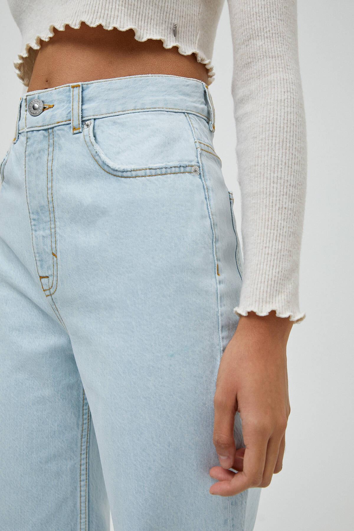 Pull & Bear Kadın Açık Mavi Yüksek Bel Straight Fit Jean 04681313 4