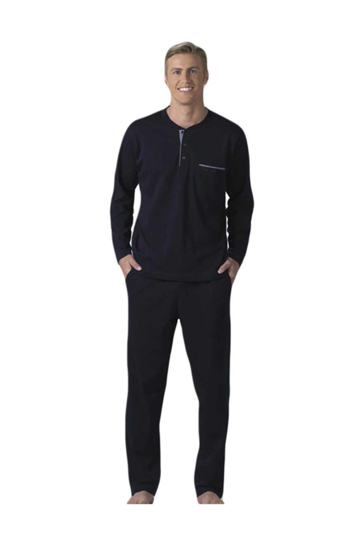 Erkek Lacivert Çeyizlik Pijama Takımı Penye