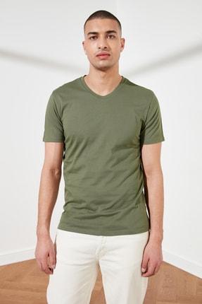 TRENDYOL MAN Haki Basic Erkek Slim Fit V Yaka Kısa Kollu T-Shirt TMNSS19BO0002 0