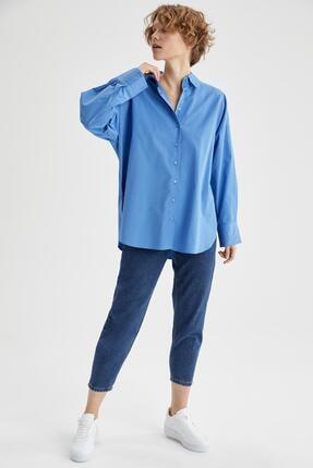 Defacto Kadın Mavi Basic Oversize Pamuklu Gömlek 1