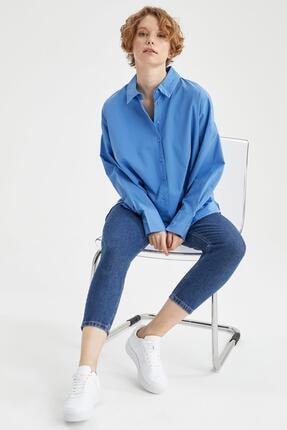 Defacto Kadın Mavi Basic Oversize Pamuklu Gömlek 4