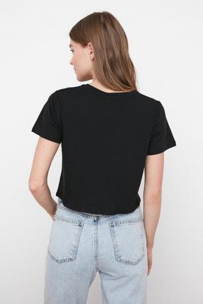 TRENDYOLMİLLA Siyah %100 Pamuk Bisiklet Yaka Crop Örme T-Shirt TWOSS20TS0135 4