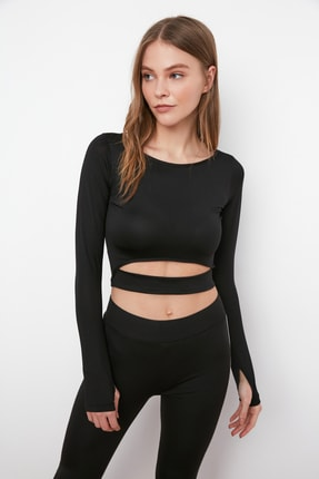 TRENDYOLMİLLA Siyah Bel Detaylı Crop Spor Bluz TWOAW21BZ0156 1