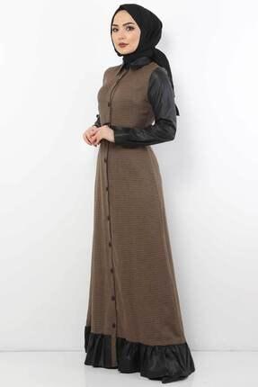 Tesettür Dünyası Kadın Kazayağı Desenli Elbise Tsd9066 Camel 3