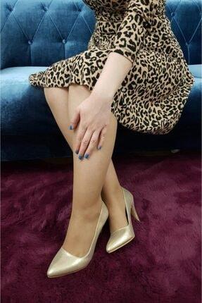 TREND Kadın Altın Parlak Topuklu Ayakkabı 1