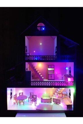EDKZEKA -led Işıklı Ahşap Oyun Evi- (60cmx45cmx20cm) -ev3 2