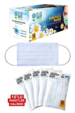 BlueDaisyMask Diamond Blue Meltblown Filtreli 100 Adet (çiçek Logolu) 3 Katlı Kokusuz Cerrahi Yüz Maskesi 1