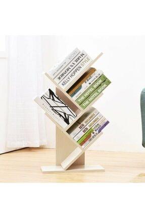 Lüx Masaüstü Dekoratif Beyaz Organizer Mini Kitap Rafı Ahşap Ofis Kitaplığı 5 Bölmeli Kitaplık EX-108-18