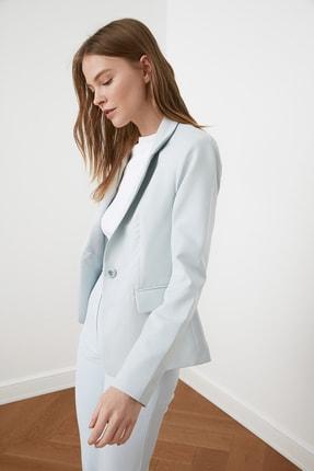 TRENDYOLMİLLA Mavi Düğme Detaylı Blazer Ceket TWOSS21CE0039 1