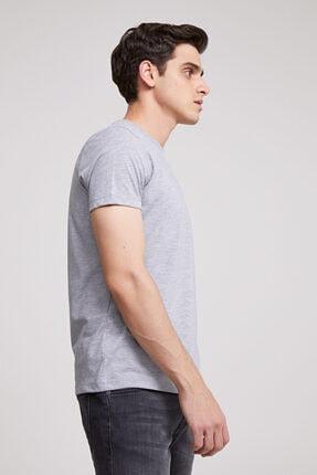D'S Damat Erkek Gri Düz Twn Slim Fit T-shirt 2
