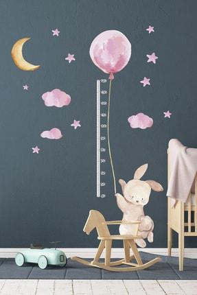 TUGİBU Balonlu Tavşan Boy Ölçer Duvar Sticker Seti 0