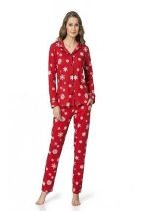 1007 Pamuklu Boydan Düğmeli Bayan Pijama Takım resmi