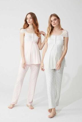 Feyza Pijama Kadın Lohusa 3'lü Pijama Takımı Dantelli 3 Düğmeli 1
