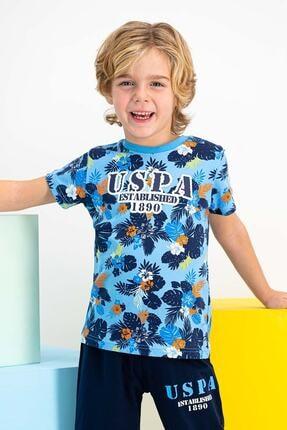 US Polo Assn Lisanslı Mint Erkek Çocuk Mavi Kapri Takım 1