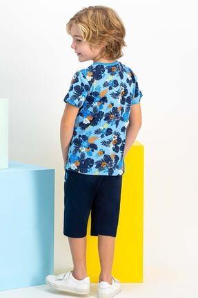 US Polo Assn Lisanslı Mint Erkek Çocuk Mavi Kapri Takım 3