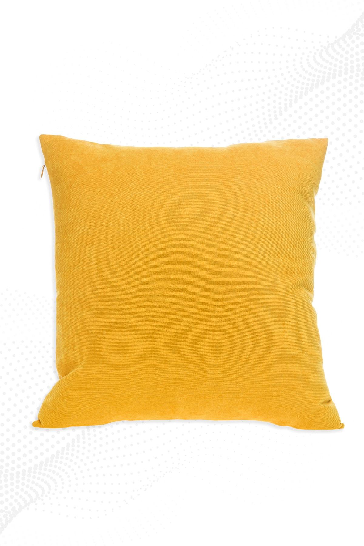 Sarı Kırlent Kılıfı Dekoratif Düz Sade Panoroma-344