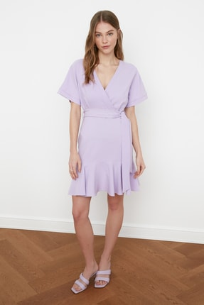 TRENDYOLMİLLA Lila Kuşaklı Elbise TWOSS20EL0944 2