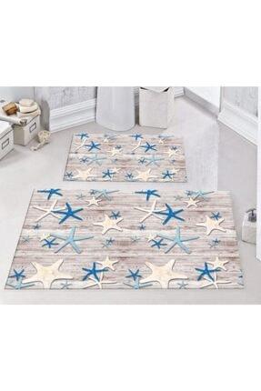 Areomoda Rengarenk Deniz Yıldızı 2'li Kaymaz Banyo Klozet Takımı Paspas 0286 1