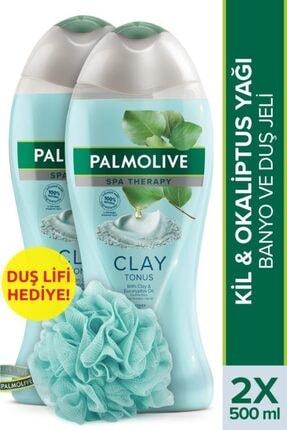 Palmolive Spa Therapy Clay Tonus Kil ve Gül Yağı Banyo ve Duş Jeli 500 ml x 2 Adet + Duş Lifi Hediye 0