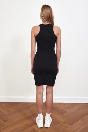 TRENDYOLMİLLA Siyah Fitilli Halter Yaka Örme Elbise TWOSS21EL1487 4
