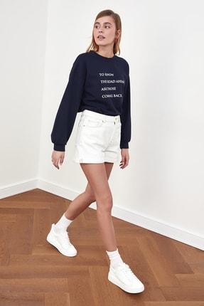 TRENDYOLMİLLA Lacivert Baskılı Örme Sweatshirt TWOSS21SW0125 1
