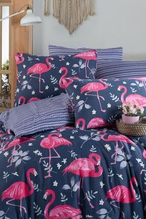 Fushia Flamingo Navy %100 Pamuk Çift Kişilik Nevresim Takımı 2