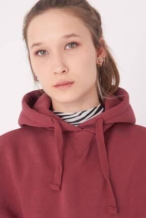 Addax Kadın Vişne Kapüşonlu Sweatshirt S0519 - P10V1 Adx-0000014040 2