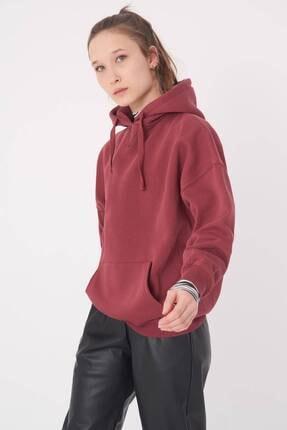 Addax Kadın Vişne Kapüşonlu Sweatshirt S0519 - P10V1 Adx-0000014040 4
