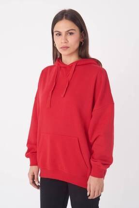 Addax Kadın Kırmızı Kapüşonlu Sweatshirt S0519 - P10V1 Adx-0000014040 1