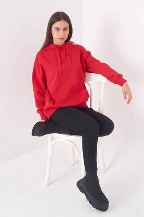 Addax Kadın Kırmızı Kapüşonlu Sweatshirt S0519 - P10V1 Adx-0000014040 2